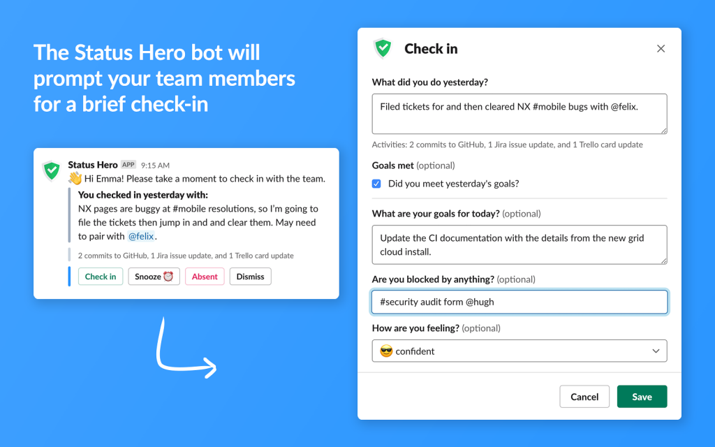 Communicate Slack Status Hero
